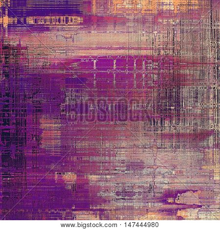 Grunge background with delicate aged texture. Antique backdrop with retro vintage elements and different color patterns: yellow (beige); gray; red (orange); purple (violet); pink