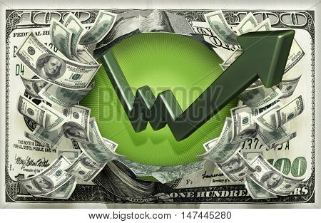 Market Arrow With Money 3D Illustration