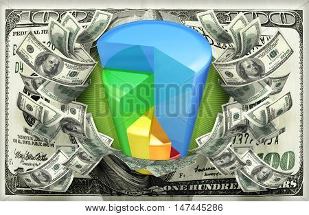 Pie Chart With Money 3D Illustration
