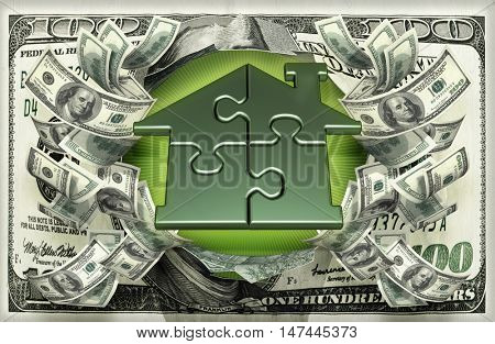Home Puzzle With Money 3D Illustration