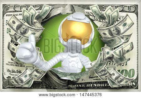 Astronaut Character With Money 3D Illustration