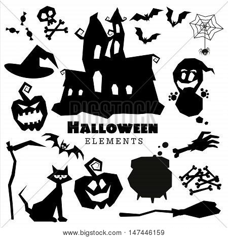 Happy Halloween scary black silhouettes collection. Vector holiday set of spooky cartoon illustrations. Pumpkin bat ghost witch hat cat spider skull bone boiler castle moon broom. Trick or treat