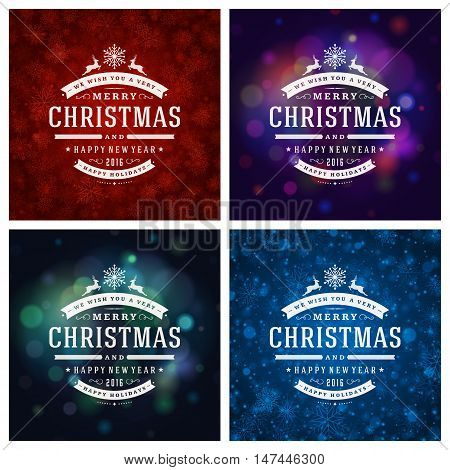 Christmas Typography Greeting Cards Design Set. Merry Christmas and Holidays wishes retro style vintage ornament decoration. Christmas lights and Snowflakes Backgrounds. Vector illustration EPS 10.