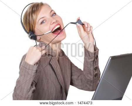 The Beautiful Girl Works As The Operator