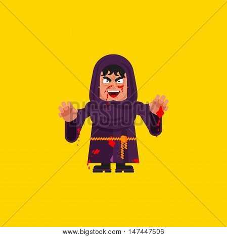 Stock vector illustration a bloody monk character for halloween in a flat style