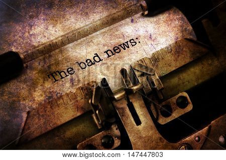 Bad News On Typewriter Grunge Concept