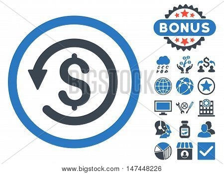 Chargeback icon with bonus pictogram. Vector illustration style is flat iconic bicolor symbols, smooth blue colors, white background.
