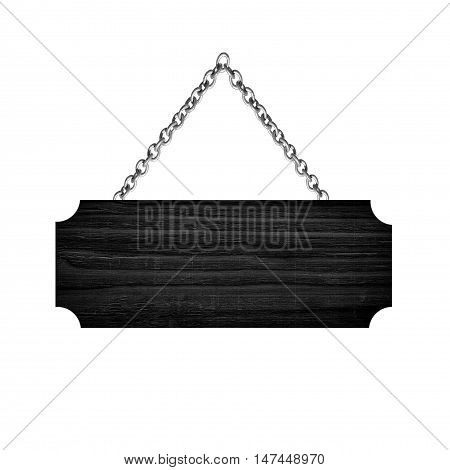 Black Wooden sign hanging on a chain isolated on white