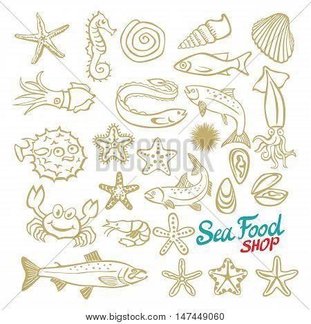 Sea Set. Stingray, Jellyfish, Seaweed, Fish, Starfish, Jellyfish, Squid, Crab, Sea Horse. Vector Ill