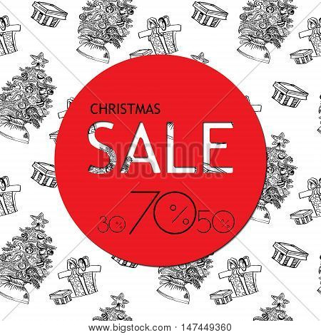 Christmas Sale banner with red sticker on the white background. Vector illustration