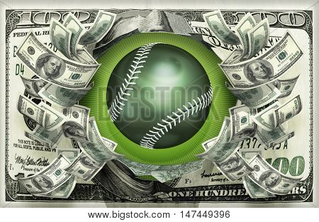 Baseball With Money 3D Illustration