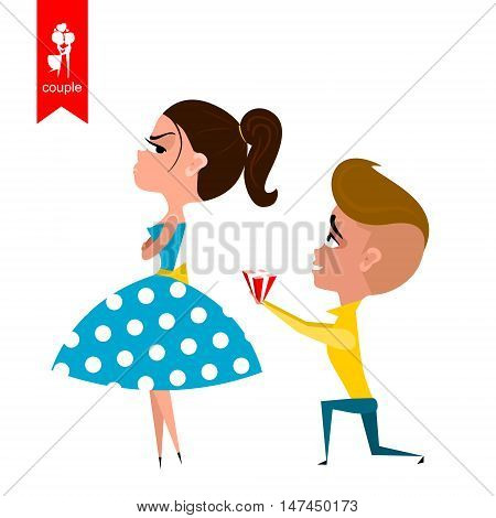 boy gives girl gift. Flat illustration. Vector
