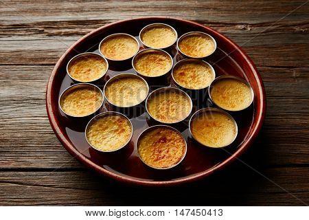 Custard Creme Caramel Flan dessert bain marie oven cooked