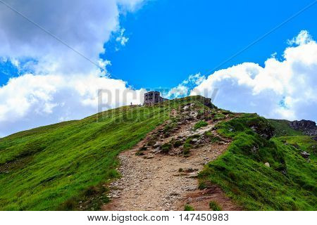 Trail to the peak of Pip Ivan mountain and ruins of astronomical observatory in Carpathians Ukraine