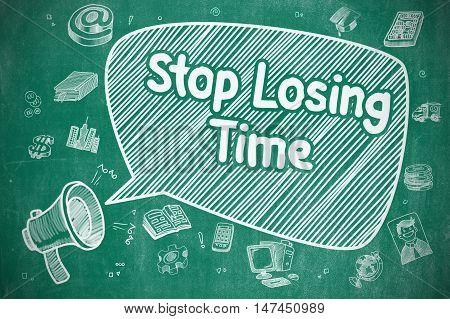 Stop Losing Time on Speech Bubble. Cartoon Illustration of Shrieking Megaphone. Advertising Concept.