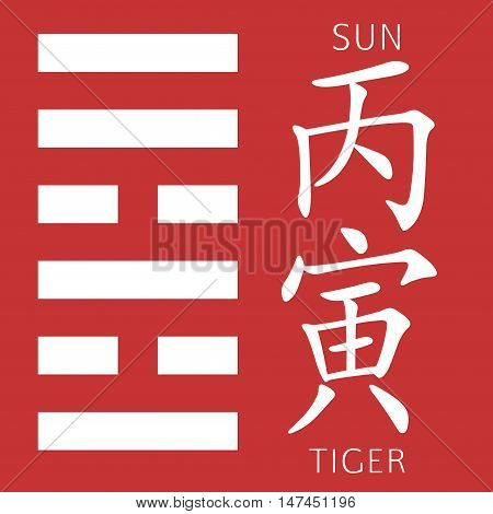 Symbol of i ching hexagram from chinese hieroglyphs. Translation of 12 zodiac feng shui signs hieroglyphs- sun and tiger.