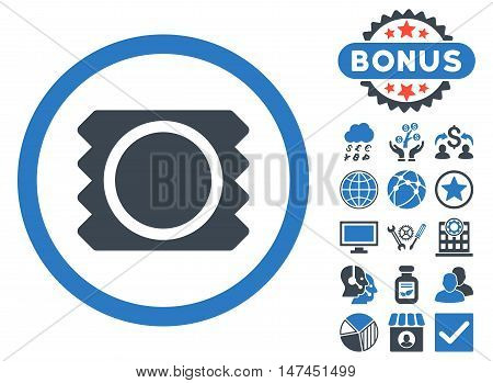 Condom icon with bonus images. Vector illustration style is flat iconic bicolor symbols, smooth blue colors, white background.