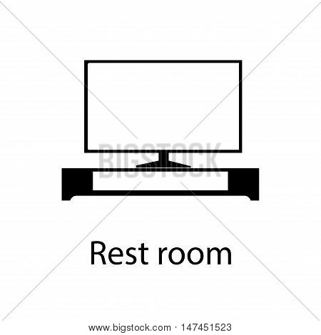 Home and hotel Lounge or Sitting Room Cover with TV interior with furniture. Line vector icon illustration