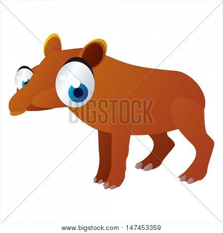vector cartoon cute animal mascot. Funny colorful cool illustration of happy Tapir