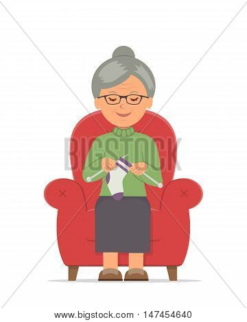 Knitting. Grandma sitting in a cozy armchair knitting. Pastime of elderly female in a comfortable red chair knitting. Isolated vector illustration in flat style.