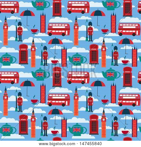 Seamless pattern background with London landmarks and Britain symbols vector illustration