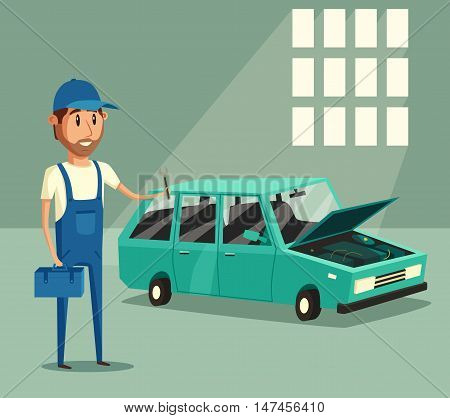 Car repair. Car service. Vector cartoon illustration. Mechanic repairs car in the garage. Broken car in auto repair shop. Funny mechanic. Professional worker.