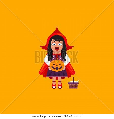 Stock vector illustration a girl in costume Little Red Riding Hood character for halloween in a flat style