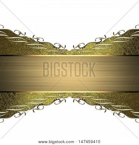 Golden Ornaments And Invitation. Template For Design. Copy Space For Ad Brochure Or Announcement Inv