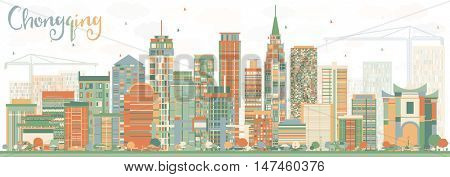 Abstract Chongqing Skyline with Color Buildings. Vector Illustration. Business Travel and Tourism Concept with Chongqing Modern Buildings. Image for Presentation Banner Placard and Web.