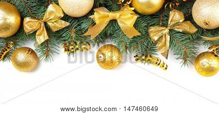 Christmas composition with fir tree branches and festive decoration on white  background
