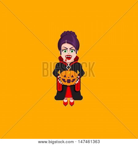 Stock vector illustration a vampire woman character for halloween in a flat style