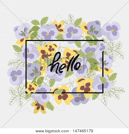 Vector floral pattern with pansy flowers in the flat and a sketch style. Outline style vector illustration.