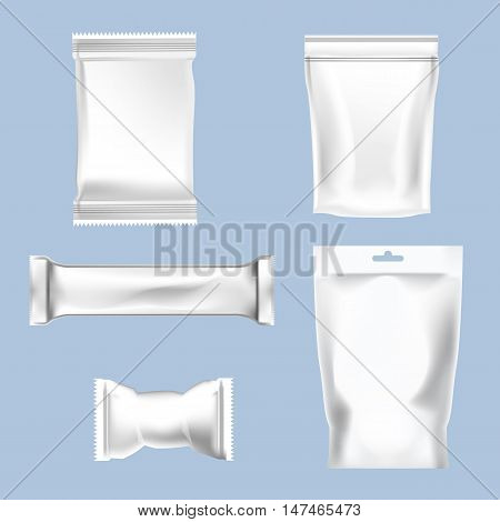 Vector set of white polyethylene foil package for sugar, bubble gum, sweets and candies mockup ready for your design