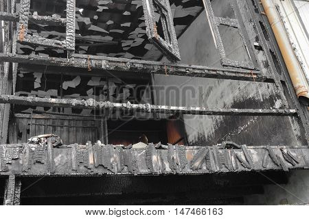 home fire. abstract detail images conflagration  that was abandoned after the house fire.
