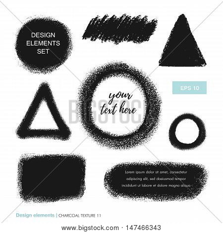 Set of soft hand drawn charcoal texture. Vector charcoal design element. Coal stain for banners. Charcoal background. Ink brush stroke. Charcoal scribble background. Scribble coal hand drawn smudge.