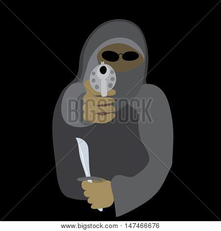vector armed with a knife and a gun thug in a mask on a black background / dangerous frightening threat