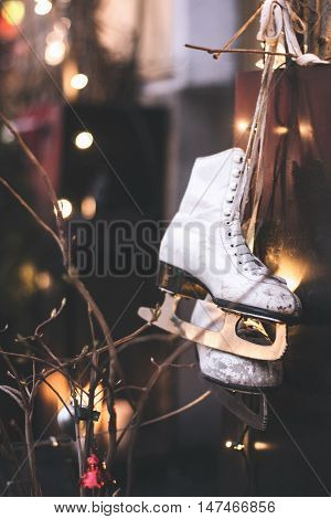 Cute New Year decoration with skates and winter mood