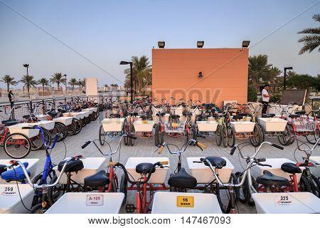 HIDD, BAHRAIN - SEPTEMBER 10, 2016: Cycle Renting shed in Prince Khalifa Bin Salman Park