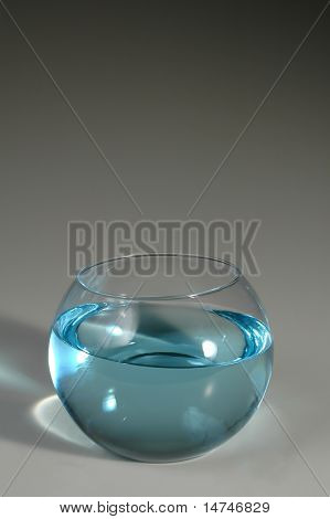 Fishbowl with water over a gray background. Ready for you to place an image or text over the upper portion.
