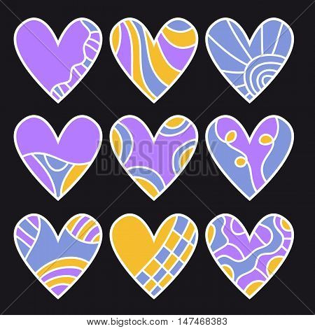 Lilac orange and blue heart collection over black background