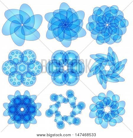 Blue ornament collection isolated over white background