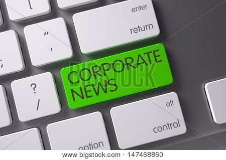 Corporate News Concept: Slim Aluminum Keyboard with Corporate News, Selected Focus on Green Enter Keypad. 3D.