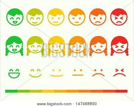 Feedback rate emoticon icon set. Emotion smile ranking bar. Vector smile face customer or user review survey vote rating. Emoji opinion symbols