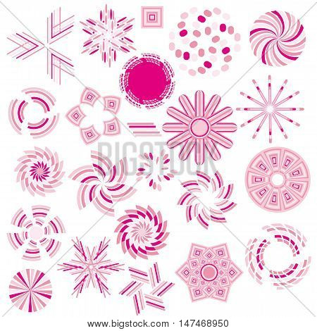 Pink ornament collection isolated over white background