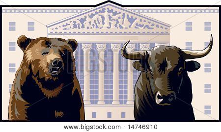 Bear and Bull in front of the New York Stock Exchange Building