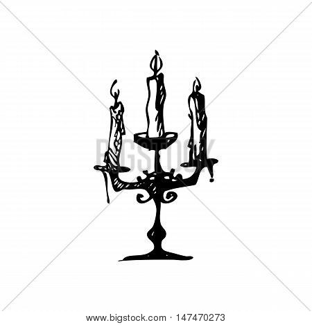 Hand drawn doodle candelabrum with three candles. Black illustration, white background