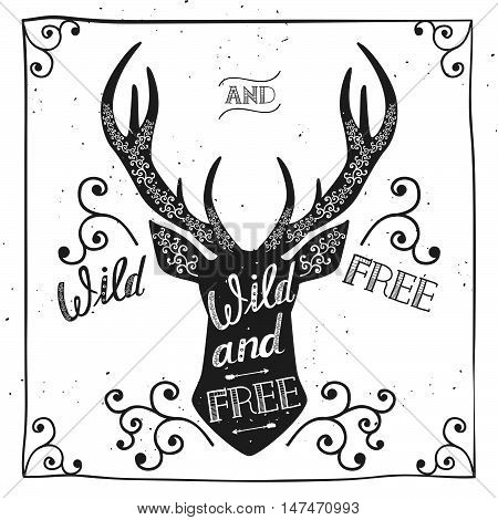 Silhouette of a deer. Hand drawn typography poster, greeting card, for t-shirt design
