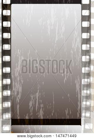 Grunge grey fragmentary film strips. Background for design (vector EPS 10)