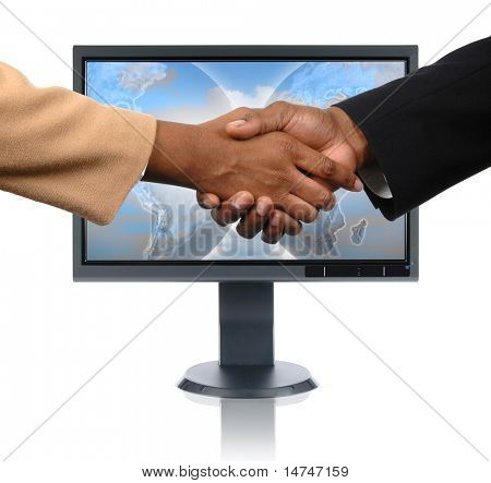 LCD monitor with global handshake concept isolated over a white background