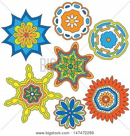 Colorful Ornament Collection isolated over white background